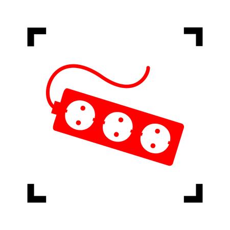 Signe de prise de rallonge électrique. Vecteur. Icône rouge à l'intérieur des coins de mise au point noir sur fond blanc. Isolé.