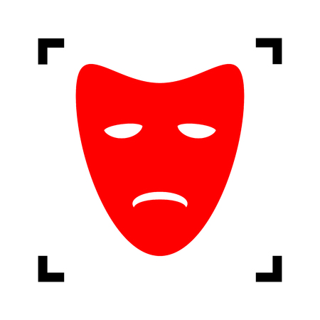 theatrical performance: Tragedy theatrical masks. Vector. Red icon inside black focus corners on white background. Isolated.