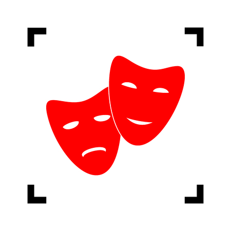 theatrical performance: Theater icon with happy and sad masks. Vector. Red icon inside black focus corners on white background. Isolated.