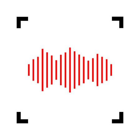 Sound waves icon. Vector. Red icon inside black focus corners on white background. Isolated. Illustration