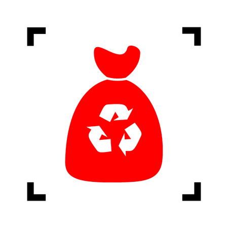 Trash bag icon. Vector. Red icon inside black focus corners on white background. Isolated.