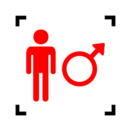 andropause: Male sign illustration. Vector. Red icon inside black focus corners on white background. Isolated. Illustration