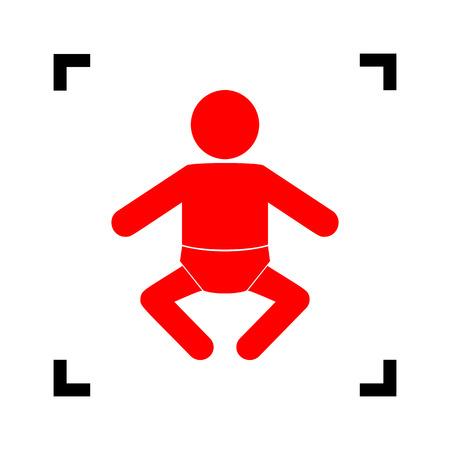 Baby Zeichen Abbildung. Vektor. Rote Ikone innerhalb der schwarzen Fokusecken auf weißem Hintergrund. Isoliert.