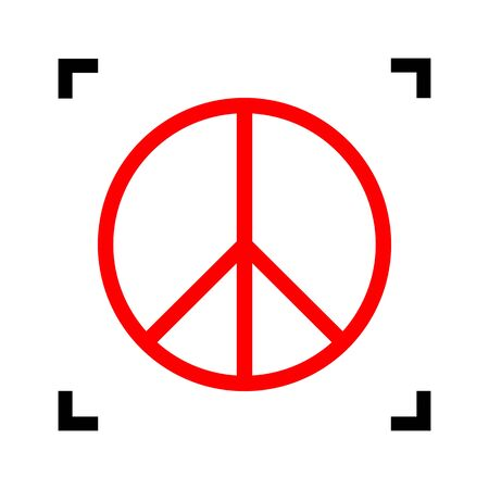 pacificist: Peace sign illustration. Vector. Red icon inside black focus corners on white background. Isolated.