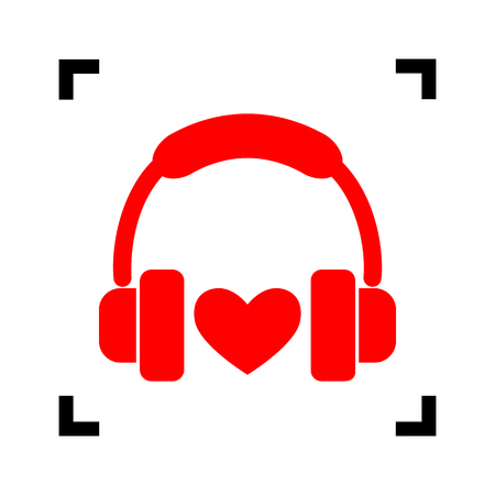 Headphones with heart. Vector. Red icon inside black focus corners on white background. Isolated.