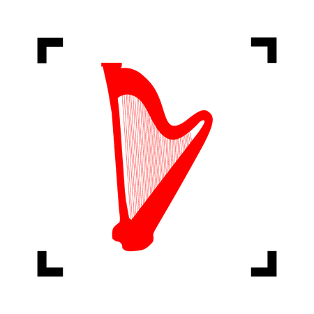 Musical instrument harp sign. Vector. Red icon inside black focus corners on white background. Isolated. Illustration
