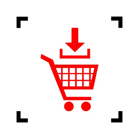 Add to Shopping cart sign. Vector. Red icon inside black focus corners on white background. Isolated.