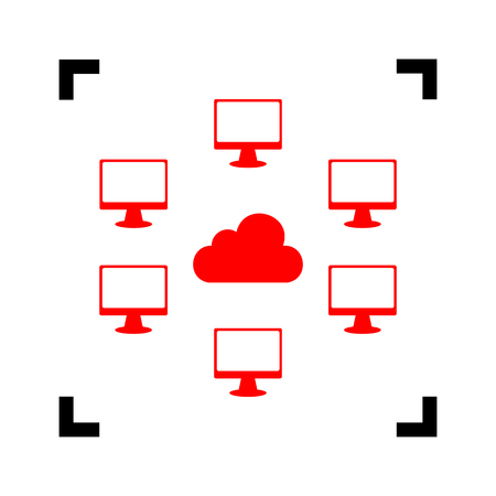 dataset: Computers network sign. Vector. Red icon inside black focus corners on white background. Isolated.