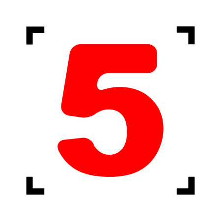 Number 5 sign design template element. Vector. Red icon inside black focus corners on white background. Isolated.