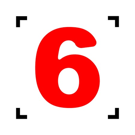 Number 6 sign design template element. Vector. Red icon inside black focus corners on white background. Isolated.