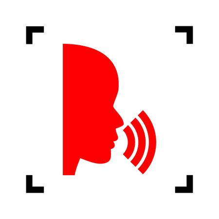 black people: People speaking or singing sign. Vector. Red icon inside black focus corners on white background. Isolated. Illustration