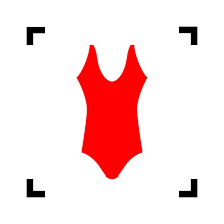 Woman`s swimsuit sign. Vector. Red icon inside black focus corners on white background. Isolated.