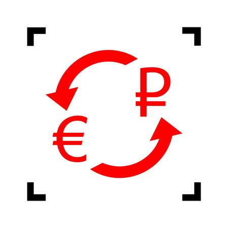 rouble: Currency exchange sign. Euro and Russia Rouble. Vector. Red icon inside black focus corners on white background. Isolated.