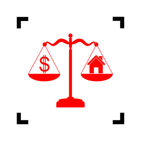 weigher: House and dollar symbol on scales. Vector. Red icon inside black focus corners on white background. Isolated. Illustration