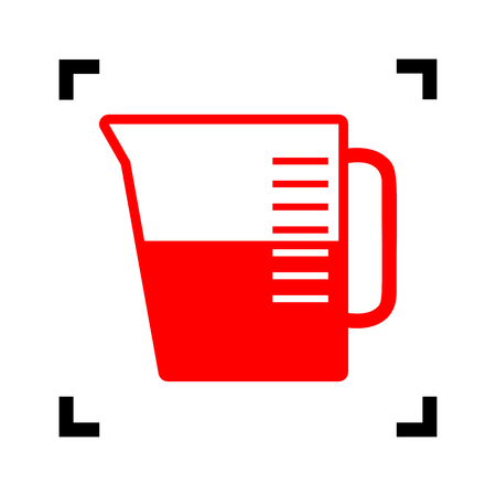 ml: Beaker sign. Vector. Red icon inside black focus corners on white background. Isolated.