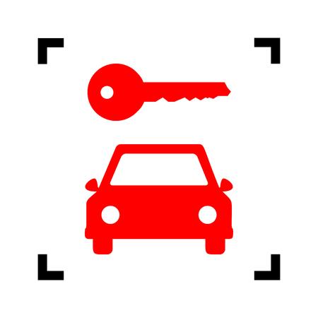 Autosleutel simplistisch teken. Vector. Rood pictogram binnen zwarte nadrukhoeken op witte achtergrond. Geïsoleerd.