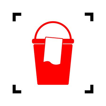 Cubo y un letrero de trapo. Vector. Icono rojo dentro de las esquinas de foco negro sobre fondo blanco. Aislado.