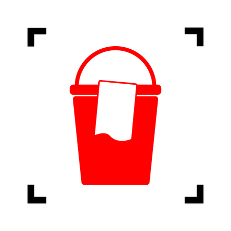 Bucket and a rag sign. Vector. Red icon inside black focus corners on white background. Isolated.