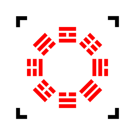 trigram: Bagua sign. Vector. Red icon inside black focus corners on white background. Isolated.