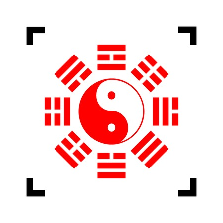 taijitu: Yin and yang sign with bagua arrangement. Vector. Red icon inside black focus corners on white background. Isolated. Illustration