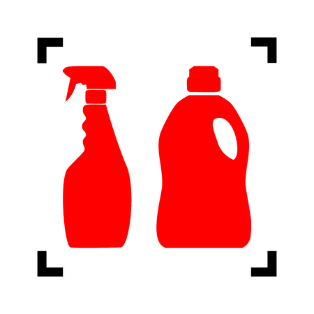 Household chemical bottles sign. Vector. Red icon inside black focus corners on white background. Isolated.