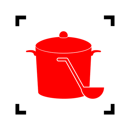 broth: Pan with steam sign. Vector. Red icon inside black focus corners on white background. Isolated. Illustration