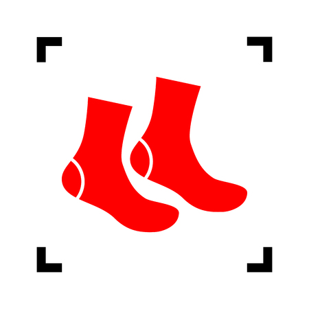 hosiery: Socks sign. Vector. Red icon inside black focus corners on white background. Isolated.