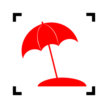 sunshade: Umbrella and sun lounger sign. Vector. Red icon inside black focus corners on white background. Isolated.