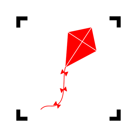 Kite sign. Vector. Red icon inside black focus corners on white background. Isolated.