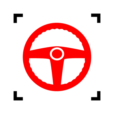 Car driver sign. Vector. Red icon inside black focus corners on white background. Isolated.