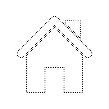 Home silhouette illustration. Vector. Black dotted icon on white background. Isolated. Фото со стока - 73893339