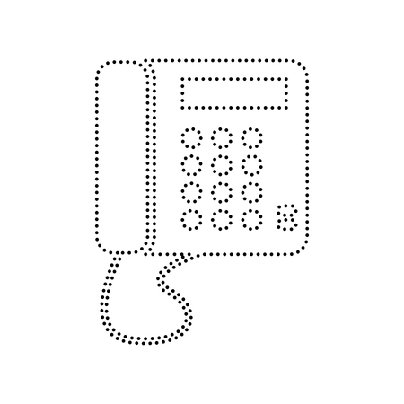 old phone: Communication or phone sign. Vector. Black dotted icon on white background. Isolated.
