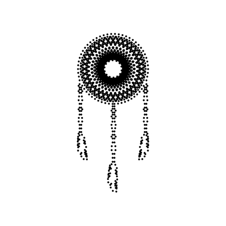 swelled: Dream catcher sign. Vector. Black dotted icon on white background. Isolated.