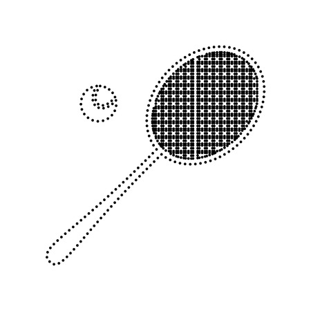 Tennis racquet sign. Vector. Black dotted icon on white background. Isolated. Ilustrace