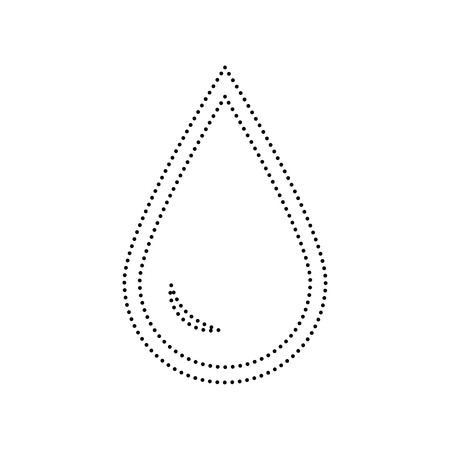 Drop of water sign. Vector. Black dotted icon on white background. Isolated.