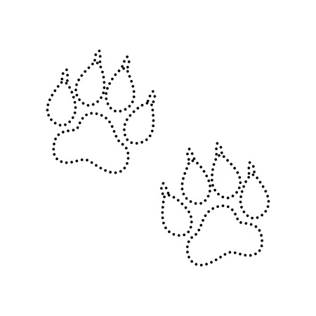 Animal Tracks sign. Vector. Black dotted icon on white background. Isolated.