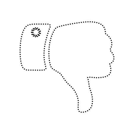 disapprove: Hand sign illustration. Vector. Black dotted icon on white background. Isolated. Illustration