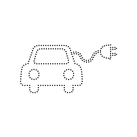 echnology: Eco electric car sign. Vector. Black dotted icon on white background. Isolated.