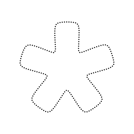 reference point: Asterisk star sign. Vector. Black dotted icon on white background. Isolated.