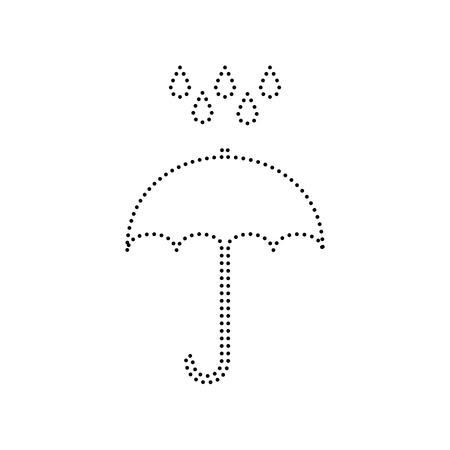 Umbrella with water drops. Rain protection symbol. Flat design style. Vector. Black dotted icon on white background. Isolated. Illustration