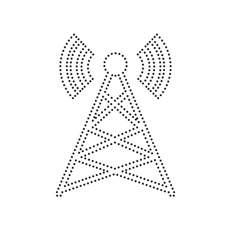 Antenna sign illustration. Vector. Black dotted icon on white background. Isolated.