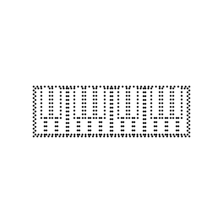 Piano Keyboard sign. Vector. Black dotted icon on white background. Isolated.