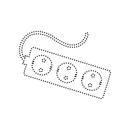 amp: Electric extension plug sign. Vector. Black dotted icon on white background. Isolated. Illustration