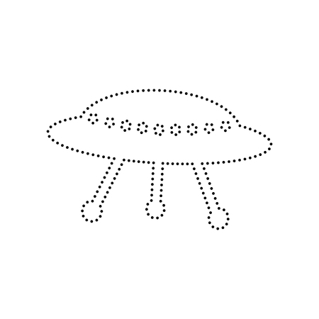 unidentified flying object: UFO simple sign. Vector. Black dotted icon on white background. Isolated. Illustration