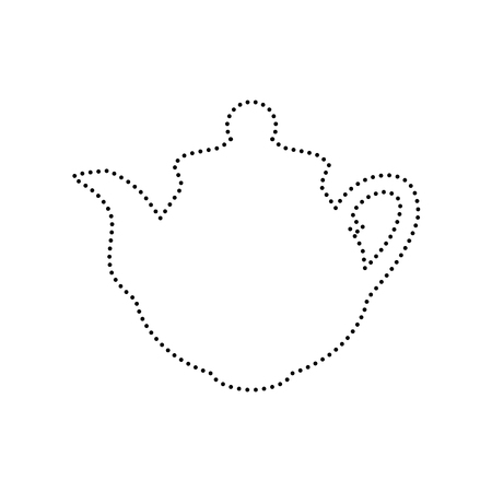 Tea maker sign. Vector. Black dotted icon on white background. Isolated. Illustration