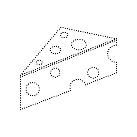 cheez: Cheese Maasdam sign. Vector. Black dotted icon on white background. Isolated.