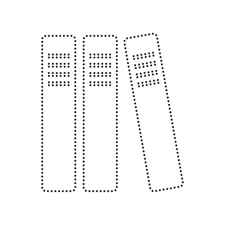 noticeable: Row of binders, office folders icon. Vector. Black dotted icon on white background. Isolated. Illustration