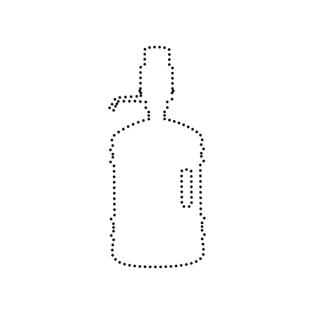 siphon: Plastic bottle silhouette with water and siphon. Vector. Black dotted icon on white background. Isolated. Illustration