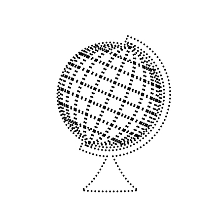 Earth Globe sign. Vector. Black dotted icon on white background. Isolated.