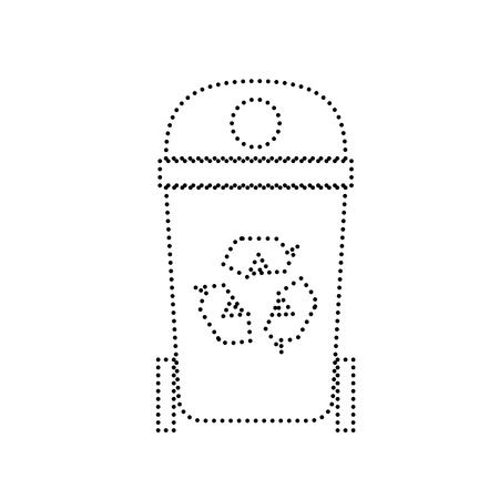 trashing: Trashcan sign illustration. Vector. Black dotted icon on white background. Isolated.